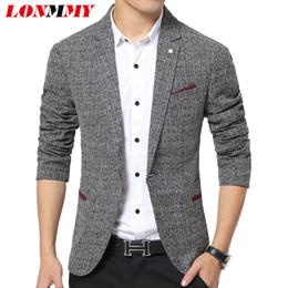 Wholesale Unique Design Suits - Wholesale- LONMMY Linen suits men blazer Slim fit High quality One buckle Unique mens blazers suit Fashion men blazer designs New