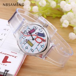 Wholesale Watch Transparent Ladies - Wholesale- Transparent Clock Silicone Watch Women Sport Casual Quartz Wristwatches Novelty Crystal Ladies Watch Cartoon Reloj Mujer LZ2062