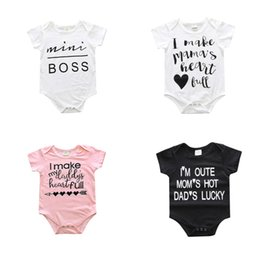 Wholesale Baby Bodysuits Short Sleeve - 2017 Ins Baby clothing Romper Onesies Bodysuits short sleeve Letters Mamas daddys Infants clothing White briefs 8 styles mix 0-2years