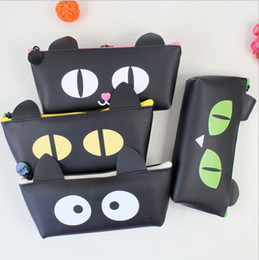 Wholesale Nice Old - Wholesale-Fashion Black cat pencil bag pencil case  Kawaii stationery Nice Gift Papeleria Office school supplies WJ0385