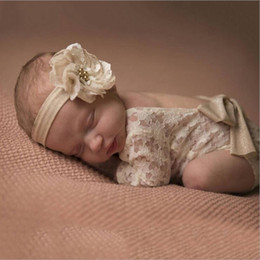 Wholesale photography clothes - Newborn Baby Lace Romper Photography Rompers Baby Girl Cute petti Bow Jumpsuits Infant Toddler Photo Clothing Soft Lace Bodysuit 0-3M KBR07