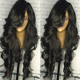 Wholesale Human Hair Top Bangs - 5*4.5 Silk Base Lace Front Wig With Side Part Bangs Brazilian Loose Wave Human Hair Silk Top Full Lace Wigs