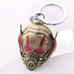 Wholesale Euro Key Chains - Euro-American Movie Ant-Man Mask Key Chain Hot Sale Metal Keychains Wholesale 10pcs lot Size 4.5*5.5cm