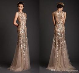 Wholesale Grape Shape Lighting - 2017 Evening Dresses 2016 Gold Mermaid Shape Tulle Sheer See Through Appliques Prom Dress Emboridery Long Formal Dubai Gowns