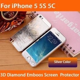Wholesale Iphone Back Glass Diamond - For iPhone 5 5S 5C Front back 3D Diamond colored Emboos Tempered glass Screen Protectors Film Guard 9H for iphone5