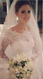 Wholesale High End Wedding Gowns - High End Long Sleeves Mermaid Wedding Dresses Vintage Lace Saudi Arabia Backless Bridal Gown Tiered Skirt Vestios De Novia