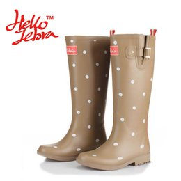 Wholesale polka dot rainboots - Women Fashion Rain Boots Printing Polka Dot Ladies Rubber MIid-Calf Heels Waterproof Buckle Rainboots 2016 New Fashion Design Women Dot Rain