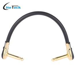 Wholesale Guitar Cords - Wholesale- Hight-quality ammoon AC-20 15cm   0.5 Feet Guitar Patch Cable Cord with 1 4 Inch 6.35mm Golden Right Angle Plug PVC for Effect