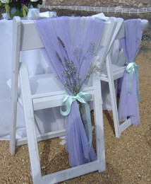 Wholesale Chair Covers Ribbons - Wholesale two Sample Birthday Party Wedding Chair Sashes Decorations Chair Ribbon Gauze Back Sash Back Of The Chair Covers Wedding Suppies