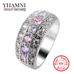 Wholesale Silver Rings Pink Diamonds - YHAMNI Luxury Pink & Purple CZ Diamond Solitaire Ring Original 925 Sterling Silver Jewelry Wedding Gift of Women KZLR01