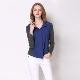 Wholesale Business Shirts For Women Casual - Blouses Tops Autumn Women 2017 Casual Ladies Chiffon Long Sleeve Elegant Business Office Patchwork Shirts Mujer Tops for Women Clothing