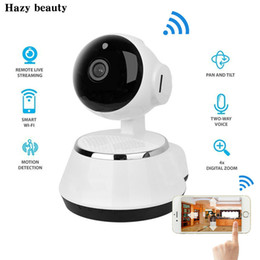Wholesale Indoor Wireless Cctv - New ! Pan Tilt Wireless IP Camera WIFI 720P CCTV Home Security Cam Micro SD Slot Support Microphone & P2P Free APP ABS Plastic