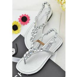 Wholesale Wholesale Girls Sandals Diamonds - 2016 New Fashion women lady Large size flat heels diamond sandals girl slippers flat shoes black silver gold brown size 34-43