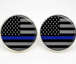Wholesale Flags Photos - 10pairs lot Thin Blue Line earrings American Flag Glass photo earrings stud post