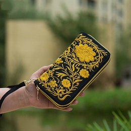 Wholesale Trend Notes Wholesale - Wholesale- National Trend Embroidered Women Wallets Long Handmade Embroidery Floral Canvas Double Zipper Coin Purse Credit Card Holder
