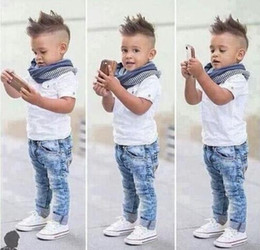 Wholesale Kids Jeans Boys - 2017 Boys Clothing Sets Toddlers Baby Boy Clothes Casual T-shirt +Scarf+Jeans 3pcs Outfits Summer Children Kids Costume Suit 13148