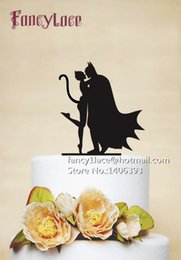 Wholesale Batman Cake Toppers - 10pcs lot Creative Glitter Paper Batman And Catwoman Mask birthday cake toppers wedding bridal baby shower Bachelor party theme decoration