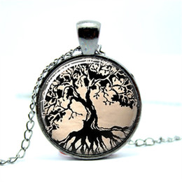 Wholesale Wholesale Gun Black Chain - 10pcs lot Gun Black Tree Necklace Tree of Life Glass Tile Art Pendant Glass Photo Cabochon Necklace