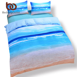 Wholesale Cheap Red Bedding - Wholesale-Dropshipping Beach And Ocean Home Textiles Hot 3D Print Comforters Cheap Vivid Bedding Set Twin Queen King Wholesale