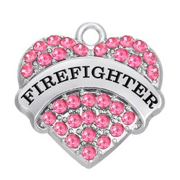 Wholesale Firefighter Jewelry - FIREFIGHTER Crystal heart Charms Pendant Mixed Crystal Heart Love Women DIY Jewelry Rhodium Plated Fashion Findings Components hot sell