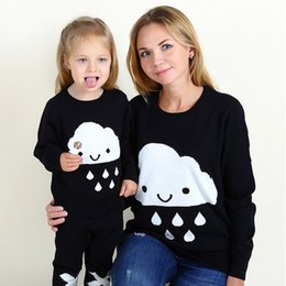 Wholesale Mother Baby Girl Clothes - Autumn Winter Mother Daughter Sweater Matching Knit Pullover Cloud Rain Drops Clothes Mom and Baby Girls Family Outfits Kids Clothing