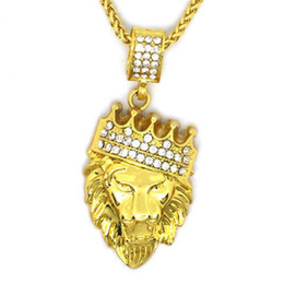 lion pendants wholesale Promo Codes - Hip Hop Jewelry Crown Lion Head Pattern Pendant Necklaces Rhineston Golden King Pendants Fashion Jewelry Gold Chains for Men