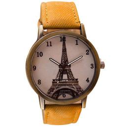 Wholesale Watch Iron Band - Xiniu Retro Iron Tower WristWatch Cowboy Leather Band Analog Quartz Watch