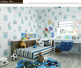 Papel de parede tijolo dimensional on-line-Papel de parede autoadesivo Sala de estar TV Padrão de tijolo imitação do Mediterrâneo Snoopy 3d adesivos de parede tridimensionais Quarto de papel