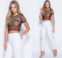 Wholesale 2017 summer new Women Crop Top Crochet Lace Trim Lace Up Front Camis Flower Embroidery Mesh Top Cutout Short t shirt