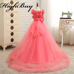 Wholesale Charm Fur Vest - HighBuy Charming 2017 Flower Girl Dresses With Flowers Long Custom Tulle Toddler Girls Pageant Dresses With Train Real Images