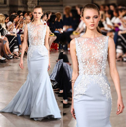 Wholesale Georges Hobeika Mermaid Dresses - 2017 Georges Hobeika Light Blue Mermaid Prom Dresses Jewel Neck Appliques Beads Evening Dress Tiered Bottom Long Train Prom Dress