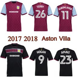Wholesale Aston Red - 2017 2018 Aston Villa Jersey Terry Hogan Lansbury Hourihane Adomah soccer Jerseys 17 18 EFL Championship thai quality Football Shirts