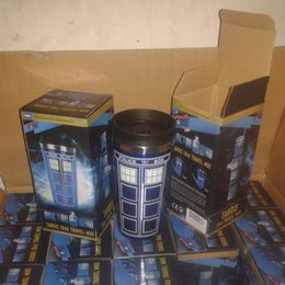Wholesale Wholesale 16oz Bottles - Doctor Who Tardis 16oz Mug Double Wall High Temperature Resistance Water Bottle Round With Cover Cup Blue 20yy R
