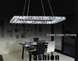 Wholesale Rectangle Light Fixture - AC110-240V L60*W30cm L40*W20cm Rectangle LED Cord pendant lights K9 crystal Stainless steel ceiling hanging lamp LEDs luminaire fixture