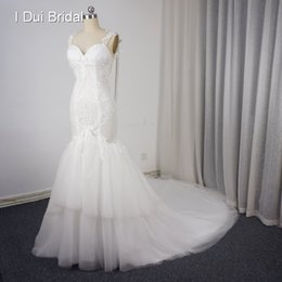 Wholesale Backless String - 2017 New Backless Sexy Mermaid Wedding Dresses Pearl Tassel String Lace Appliqued Tulle Tiered Bridal Gown