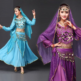Wholesale Indian Dancing Clothes - Exotic Apparel Belly Dance Costumes Set (Veil+Top+Belt+Skirt) Long Sleeves Indian Dancewear One Size Women Clothing Bellydance