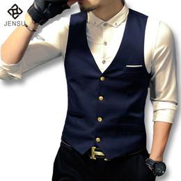 Wholesale Jacket Anzug - Wholesale- 2016 Men Dress Suit Vests Sleeveless Blazers Jackets Men's Casual Fashion Slim Fit Herren Anzug Vest Hombre Suit Vest Jackets