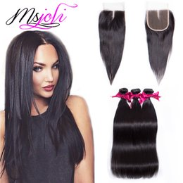 Wholesale Brazilian Weave Closure Piece - Brazilian virgin human hair weave unprocessed straight natural color 4x4 lace closure with three bundles four pieces lot from Ms Joli