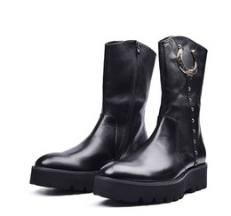 Wholesale Knee High Mens Black Boots - High qulizipper black platform mens boots motorcycle boots genuine leather mid calf boots casual mens winter shoes