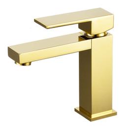 Faucet design quadrado on-line-Sólido Latão Quadrado Design Exclusivo Torneira Da Pia Do Banheiro Torneira Da Pia Da Bacia Torneira Misturadora de Ouro Torneira Da Pia Do Banho