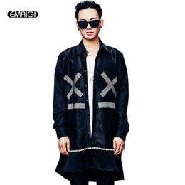 Wholesale Gauze Breast - Wholesale- 2017 spring gauze splicing geometric pattern mens long sleeve shirt long loose streetwear hip hop casual shirt stage clothing