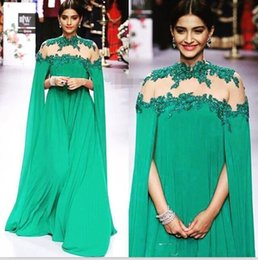 Wholesale Islamic Women Pictures - 2017cheap Long High Neck Arabic Islamic prom dress for Women chiffon Muslim Evening Dresses Lace Appliques Celebrity Party Prom Gowns