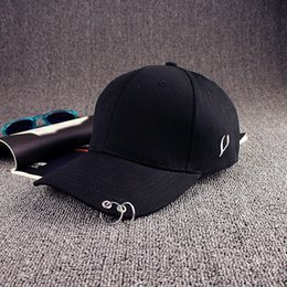 Wholesale Kpop Rings - Wholesale- Mens Snapback Hats Solid Color Iron Ring Decor Cotton Hats Women Kpop Simple Baseball Caps 2017 New Fashion Unisex Accessories