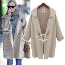 Wholesale Gray Suits For Women - 2016 New Plus Size Women Coats Suit Collar Loose Knit Cardigan Winter Coats for Women
