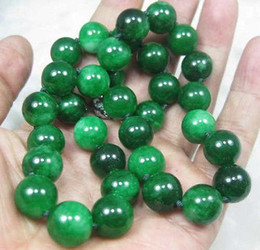 Wholesale Jade Round Silver Earrings - Natural 10mm Round GREEN JADE JADEITE Gemstone NECKLACE 18INCH AAA
