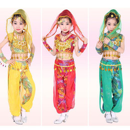 Wholesale Girls Belly Dance Skirt Costume - 6 Pieces New Girls Latin Dancewear Dress Kids Slim Indian Dance Costume Skirt kids Belly dancing dress
