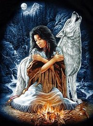 Wholesale Canvas Paintings Wholesalers - Wolf And Lady,Diamond Painting,Needlework,Embroidery,Cross Stitch,5D,DIY,Round Resin Rhinestone,Decoration,Crafts,Full,Art,YTG