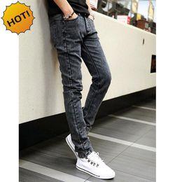Wholesale Straight Leg Harem Pants - Wholesale-Hot Style Snow Grey Straight Slim Fit Denim Jeans Men Hip Hop Boy Streetwear Harem Pants Teenagers Casual Leg Stretch Trousers