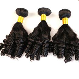 2019 permanentes extensions de cheveux humains Brésilien malaisien Funmi Hair Aunty Funmi Extensions de cheveux Romance Curls # 1B Extensions de cheveux humains Bouncy Curl