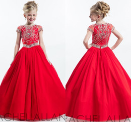 rachel allan short Promo Codes - Rachel Allan Red Junior Girls Pageant Dresses Short Sleeve Crew Beading Crystal 2020 Cheap Flower Girl Dress Baby Party Gowns